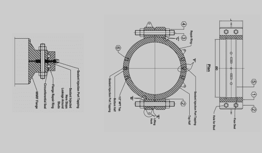 Flange Repair Clamps Manufacturer and Supplier Drawing of Flange repaire flange