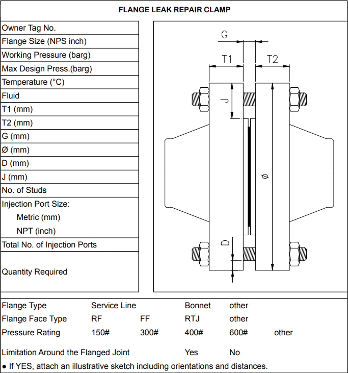 Drawing of Slnage repaire flange