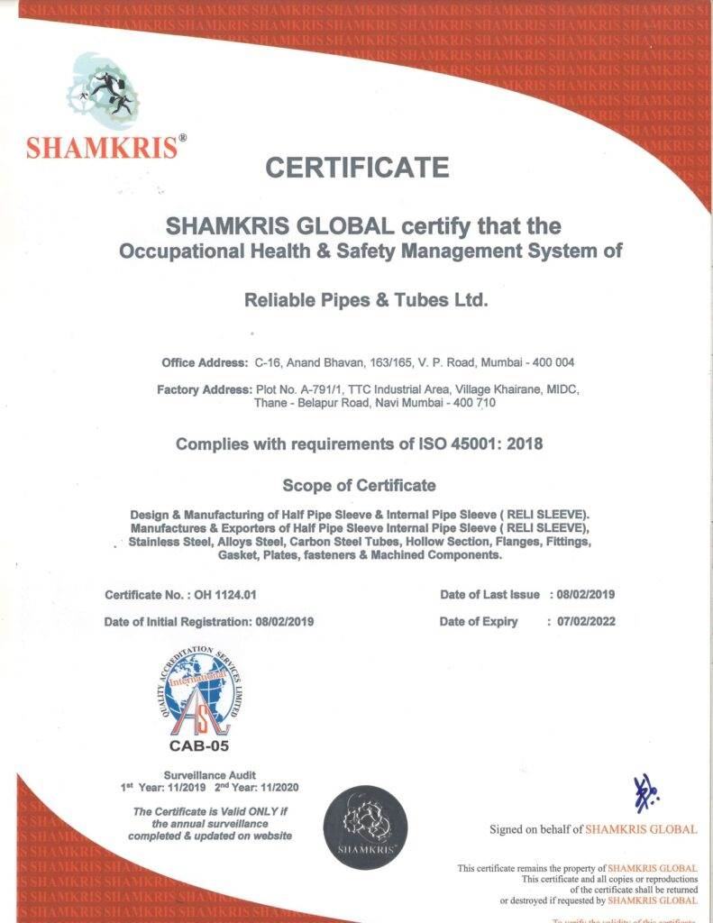 ISO-45001-2018-RELIABLE-PIPES-TUBES-LTD